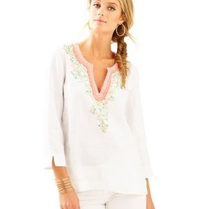 LILLY PULITZER AMELIA ISLAND TUNIC Embroidered